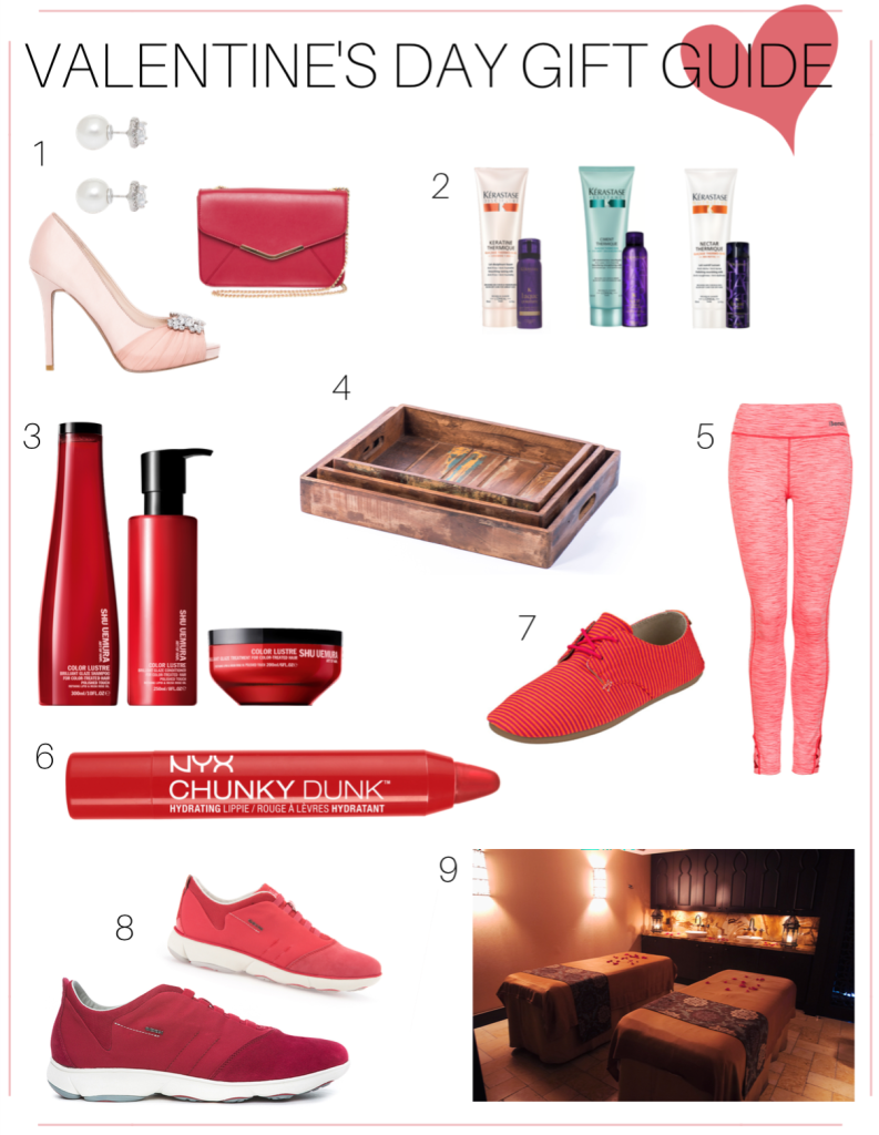 Valentines Day Gift Guide, Valentines Day, Vday, Shopping, Heels, Bench, Lipstick, Leggings, Hair Products, Spa